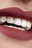 Schönes Lächeln mit dem Weiß werden von Zähnen Perfektes Modelippenmake-up Stockfoto