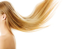 Schönes langes blondes Haar, lokalisiert auf Weiß Stockfoto