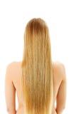 Schönes langes blondes Haar, lokalisiert auf Weiß Lizenzfreie Stockbilder