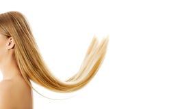 Schönes langes blondes Haar, lokalisiert auf Weiß Lizenzfreie Stockfotos
