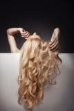 Schönes langes Haar auf einer attraktiven Frau lizenzfreies stockfoto