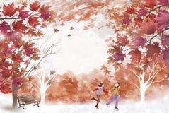 Schönes Laub und junge Paare - grafische Malereibeschaffenheit Stockfotografie