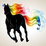 Schönes laufendes Pferdeschwarzschattenbild mit hellem Farbabstr. Stockfotografie