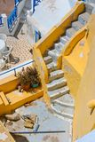 Schönes leeres Treppenhaus in Santorini Lizenzfreies Stockfoto