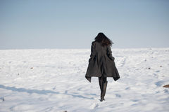 Schönes Mädchen allein auf dem Wintergebiet lizenzfreie stockbilder