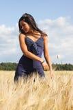 Schönes Mädchen auf dem Feld stockfotografie