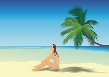 Schönes Mädchen auf einem Strand Vektor Abbildung