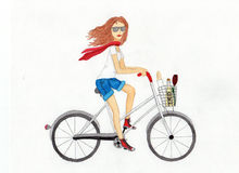 Schönes Mädchen auf einem weißen Fahrrad Abbildung Stockbilder