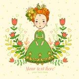 Schönes Mädchen auf Sommerblumenhintergrund. lizenzfreie abbildung