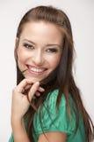 Schönes Mädchen auf weißem Hintergrund Stockfotos