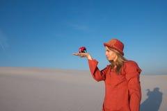 Schönes Mädchen, blond auf den Strandträumen des Reisens Stockfoto