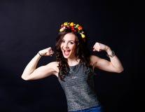 Schönes Mädchen, Brunette, klassisches Studio Stockfotografie