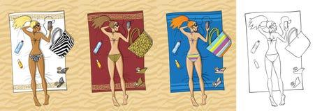 Schönes Mädchen, das auf dem Strand ein Sonnenbad nimmt Vektor Stockfoto