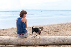 Schönes Mädchen, das auf dem Strand mit einem Spürhundhundewelpen sitzt Tropeninsel Bali, Indonesien stockfotografie