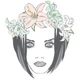 Schönes Mädchen, das einen Kranz von Rosen trägt Vector Illustration für Grußkarten, -Poster oder -kleidung lizenzfreie abbildung