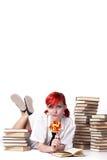 Schönes Mädchen, das einen Lutscher isst Stockbilder