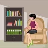 Schönes Mädchen, das im Stuhl sitzt Stockfotos