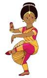 Schönes Mädchen, das indischen klassischen Tanz tanzt Stockbild