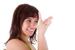 Schönes Mädchen, das lustiges Gesicht bildet, Stockbilder