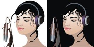 Schönes Mädchen, das Musik hört lizenzfreie abbildung