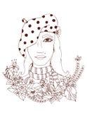 Schönes Mädchen in den Farben von Bildmädchen einer Reihe von der unterschiedlichen Teilwelt Stockbild