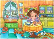 Schönes Mädchen in der Küche lizenzfreie abbildung