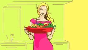 Schönes Mädchen der Karikatur mit großer roter Platte von frischen Früchten und von Grüns in der Küche Lizenzfreies Stockbild