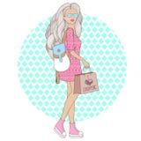 Schönes Mädchen der Mode mit Rucksack Vector Illustration einer Modefrau mit Einkaufstasche Stockbild