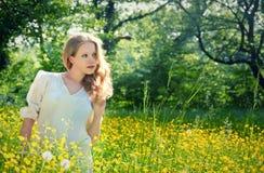 Schönes Mädchen in der Natur, auf einem Gebiet der Blumen Stockfoto