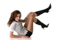 Schönes Mädchen in der reizvollen Kleidung Lizenzfreie Stockbilder