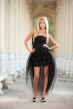 Schönes Mädchen in der schwarzen Kleideraufstellung im Freien Stockbilder