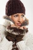 schönes Mädchen in der Winterkleidung Stockfotos