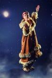 Schönes Mädchen des Nordens in der blauen Nacht lizenzfreies stockbild
