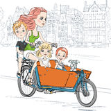 Schönes Mädchen des Vektors trägt Kind auf dem Fahrrad in Amsterdam vektor abbildung