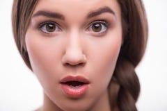 Schönes Mädchen drückt verschiedene Gefühle aus Stockfotos