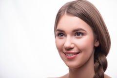 Schönes Mädchen drückt verschiedene Gefühle aus Lizenzfreie Stockfotografie