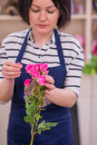 Schönes Mädchen, ein Florist, einen Blumenstrauß von Blumen auswählend Stockbilder