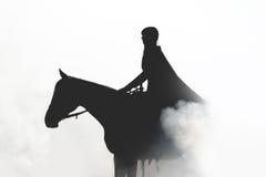 Schönes Mädchen in einem Regenmantel zu Pferd im Rauche Stockfotos