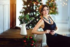 Schönes Mädchen in einem schicken Kleid, neues Jahr, Weihnachten Lizenzfreie Stockfotografie
