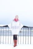 Schönes Mädchen in einem weißen Pelzmantel Stockbilder