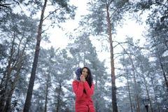 Schönes Mädchen in einer rosa Jacke, die in einem Wald unter hohem steht Lizenzfreie Stockfotos