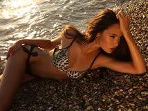 Schönes Mädchen im Bikini, der auf Sonnenuntergangstrand aufwirft Stockbild