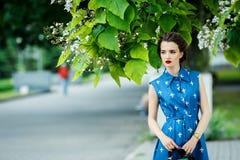 Schönes Mädchen im blauen Kleid in den Fadenkreuzen mit Geldbeutel Lizenzfreies Stockfoto