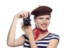 Schönes Mädchen im klassischen Blick der Franzosen 60s Stockfotos