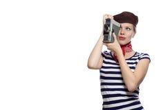 Schönes Mädchen im klassischen Blick der Franzosen 60s Lizenzfreies Stockfoto