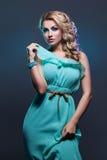 Schönes Mädchen im langen Kleid Stockbilder