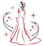 Schönes Mädchen im roten Hochzeitskleid Lizenzfreies Stockfoto