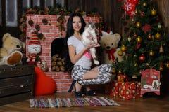 Schönes Mädchen, Katze und Ð-¡ hristmas Baum stockbilder