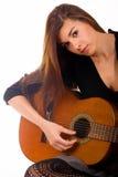 Schönes Mädchen mit Akustikgitarre Stockbilder