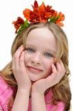 Schönes Mädchen, mit Blumen in ihrem Haar Set von 9 Abbildungen der wundervollen mehrfarbigen Tulpen Lizenzfreies Stockbild